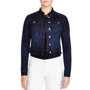 Elie Tahari lace back cropped denim jacket